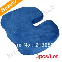3pcs/Lot Deluxe Memory Foam Seat Cushion Solution Back Ache Pain Office Chair Cushion Blue  9623