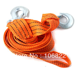 New Orange 3.9M 3 Tons Car Tow Cable Towing Strap Rope with Hooks Emergency Heavy Duty XZY0020(China (Mainland))