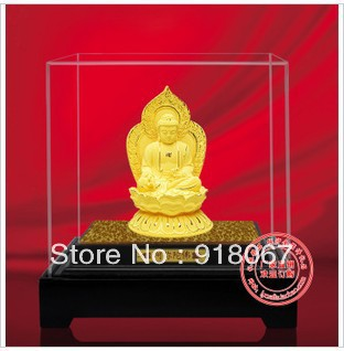 YZ-R053 24K gold craft/ Gold Handicraft/corporate gift/Tibetan Buddhist GOLD Meditating buddha statue free shipping(China (Mainland))