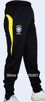 Free Shipping Brazil New Style Tapered Leg Black Professional Training Soccer Pants  with good quality