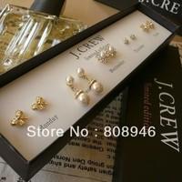 Free Shipping,Factory Sales Price JC Fashion Stud Earrings Set Include 5 Pair Stud Earrings Pearl Jewelry Original Box,B139