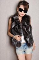 2013 New fox fur vest   Free shipping Lady Fashion Genuine Fox fur vest/Waistcoat Style Newest In Stock Hot selling