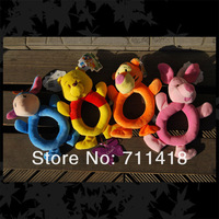 In Stock Free Shipping 20pcs/lot Cartoon Baby Soft Hand Rattles  Infant  Cartoon Animal MusicToy 4 Designs 5pcs/Design