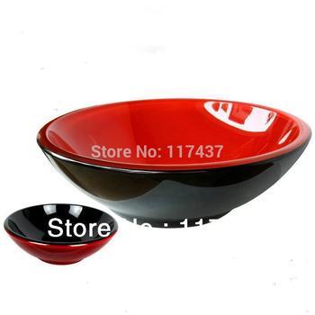 Fresh Red/Black Round Tempered Glass Vessel Sink