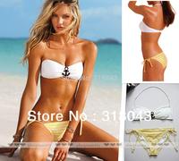 2013 Latex  Brand Anchor Padded Tube Bikini Swimwear Hot Bathing Suits Swimsuit for Women S M L BOK001