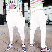 2014 men harem pants Black white sports casual Personalized Hiphop pants hip-hop autumn trousers drop crotch pants men