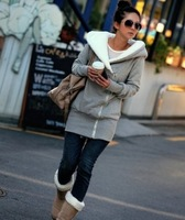 Free Shipping 2014 New Pattern   Warm Fashion Spring Hoodied Wholesale Oblique Zipper Cold-proof Women Cotton Coat