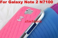 Slim Aluminum Hard Case Leather Cover Case + Screen Protector For Samsung Galaxy Note2 N7100