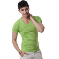 Men-s-Fashion-Short-Sleeve-Tee-T-Shirts-Good-Quality-Retail-Drop-Shipping-Wholesale-Free-Shipping  8 colors  v neck male T-shirt