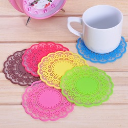 Free shipping translucent lace coaster silicone cup pad heat insulation mat various colors 20pcs/lot(China (Mainland))