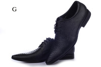 2013 New Flats Pointed Toe Mens Dress Shoes Genuine Leather Black Shoes With Fish Pattern For Wedding And Business 41-46