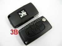 30pcs Brand New uncut blade 3 Button Peugeot folding Remote Key fob covers replacement,car remote flip key shell case repair kit