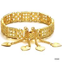 women wedding party fashion Accessories jewelry bride width18k gold plated heart pattern hand ring bracelet bangle ks340