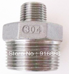 SS304 Nipple,3/4~1/2thread union, stainless steel fittings, stainless steel pipe nipple,barb fitting,Free shipping,100pcs a lot(China (Mainland))