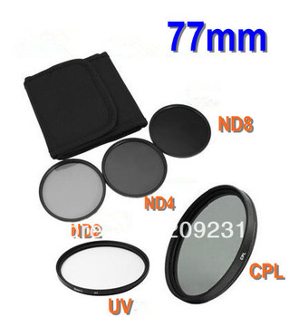 Free shipping 77mm 77mm UV+CPL+ND2+ND4+ND8+Filter Bag for Nikon Canon Sony Pentax