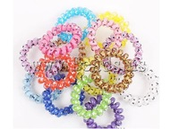 Free Shipping women Hair accessories Elastic plastic telephone line tie mixed colors approx 40mm 100Strands/Bag Sold by Bag