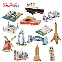 CubicFun 3D puzzle 13 famous building  model 13 pcs/lot  educational diy toy model free air mail