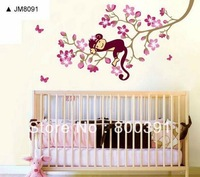 3pcs Wholesale Cute Monkey on the Tree Wall Sticker Baby Room Removable Children Wall Stickers For Kids Rooms, Free Shipping!
