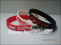 New arrived! One Direction Infection Wristband, I love 1D bracelet, filled in colour silicon bracelet, 100pcs/lot, free shipping