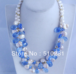 Free shipping !!! charming freshwater peral necklace mixed with blue cryatal beads # 011(China (Mainland))