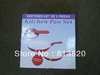 EMS FREE SHIPMENT -2 PCS CERAMIC FRY PAN ---NON STICK---CAN BE USE ON THE GAS STOVE & INDUCTION COOKER SAME TIME