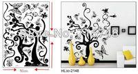 Free Shipping:3 Set=11.99USD Butterfly Love Flower Black Tree DIY Wall Art Home Decoration Fashion 3D Wall Sticker #2148