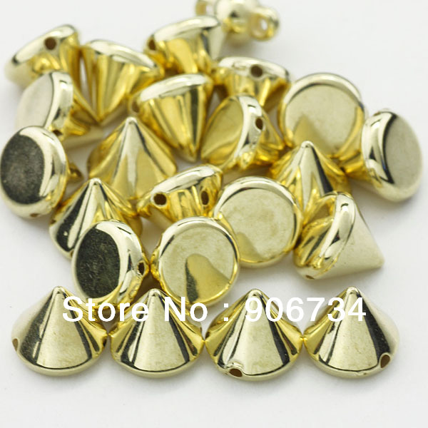 Gold Color 100pcs/lot 100% Brand New DIY 9MM Bullet Cone Spike Spacer Leathercraft Plastic Nailheads(China (Mainland))