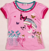 FREE SHIPPING K2328# Cotton summer baby girl kitty strass printed lovely top