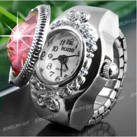 Free shipping clamshell women round three-dimensional flower carving lace lady ring watch finger watch SS171