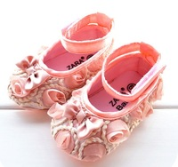 freeshipping Infant Baby Shoes Princess  pink color baby Girls Toddler Soft Sole with Rose Flowers