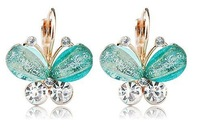 Min order is $12(mix order) wholesale new Fashion Exquisite crystal butterfly Earring for women alloy Stud Earrings jewelry