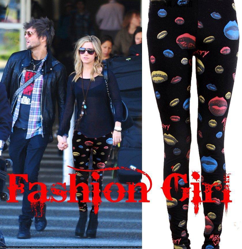 Free-shipping-new-autumn-winter-european-style-lips-bat-tights-legging