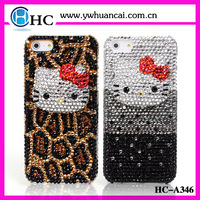 Free Shipping! Rhinestone kitty phone case for iphone 4 4g 4s leopard phone cover