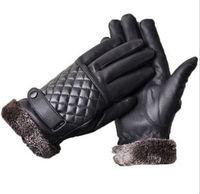 Free shipping 1 pair Black PU leather man gloves fashion sports winter warm free size fashion man accessories