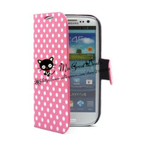 Flip Polka Dots Leather Case with Stand for AT&T, Verizon, Sprint, T-mobile Samsung Galaxy S3 - Pink