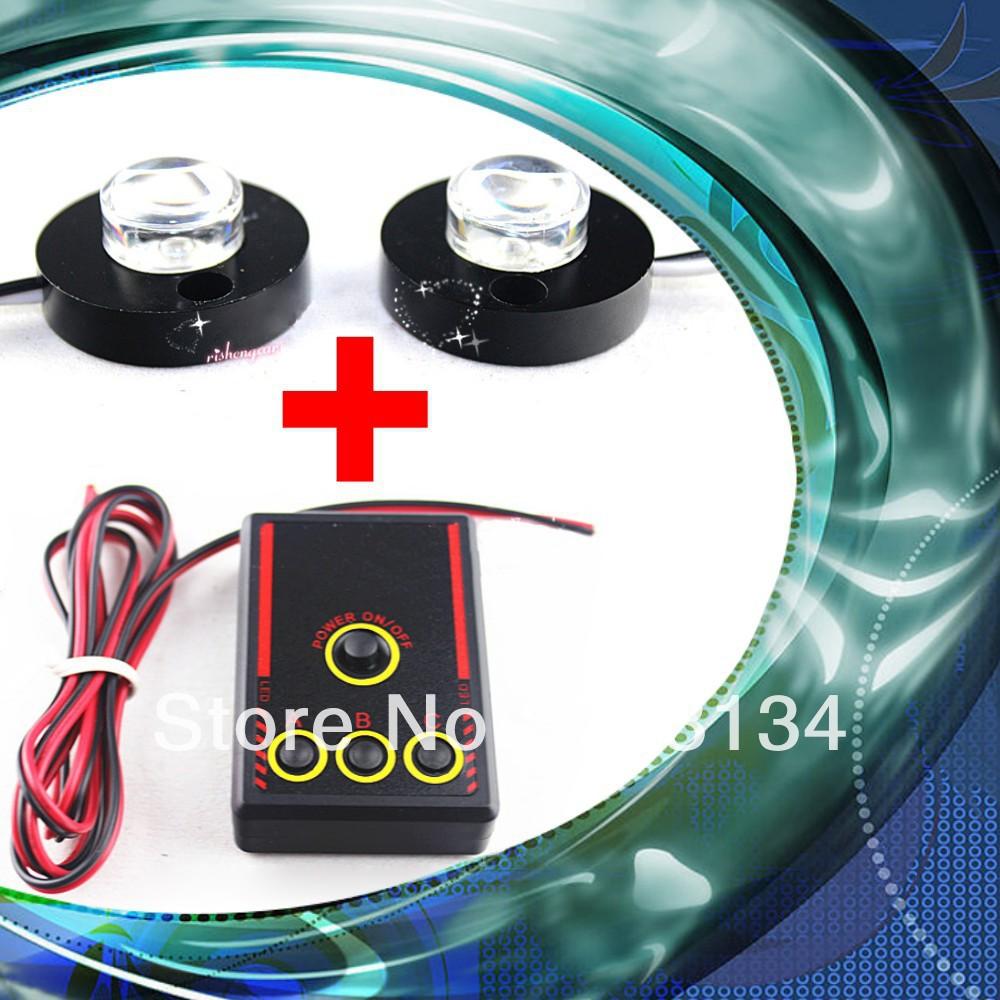 Waterproof Aluminum Led Car lighting 2 Round Head Fog lamp Strobe flash control box for Auto DRL daytime running Rear Taillights(China (Mainland))