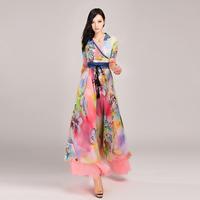 2014 lightmindedness elegant fancy expansion bottom Casual Dress lyq288  dots stripes Geometry maxi print print novelty