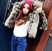 Free shipping Women Faux Fur Coat Leopard Fur collar Fur Outerwear vivi luxury Short Design Outerwear