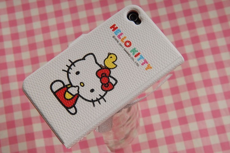 Hotsale Hello Kitty PU Leather Foldable Case Cover For iphone4 4G 4th Inner With Plastic Phone Holder Wholesale Freeship+Drop(China (Mainland))