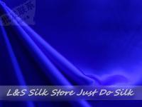 Free shipping/free epacket/100% silk fabric /plain dyed/silk/blue /silk dress fabric/silk bedding/ #LS0744-2