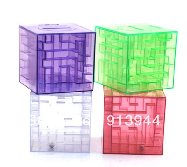 Free Shipping, Novel Money Maze Bank Saving Coin Gift Box, 3D Puzzle Game Saving Tank, Coin Money Saving Box Money Bank(China (Mainland))