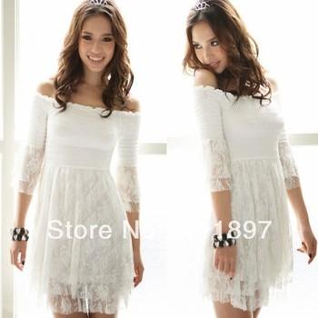 White  Dress on Three Quarter Top Mini White Sun Dress Free Shipping Holiday Sale 47