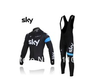 Free shipping!  2013 Team Long sleeve Winter Fleece Thermal Long Sleeve cycling  Jersey and bib pants,Size:S-XXXL