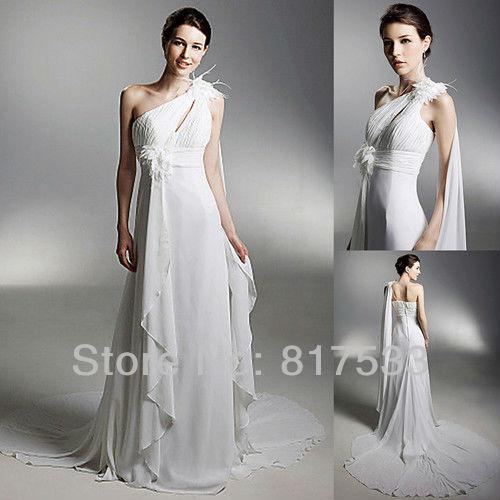 greek goddess beach destination chiffon flowing wedding bridal dress gown