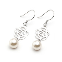 Pearl rose 925 pure silver earrings women's jewelry gentlewomen anti-allergic earrings