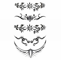 15pcs/lot NEW Fashion Black waist & wrist Waterproof Temporary Body Tattoo Sticker+Free Shipping