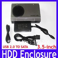Free shipping HDD Enclosure,3.5inch standard USB2.0 SATA HDD Enclosure,Aluminum alloy Hard Drive Case,MOQ=1