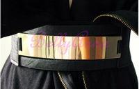 Elastic Mirror Metal Waist Belt Leather Metallic Bling Gold Plate Wide Obi Band Free Shipping Wholesale