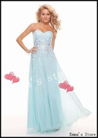 Free Shipping 2014 Custom Made Sparkle A-Line Sweetheart Floor Length Ruched Bodice Beaded Light Blue Long Prom Gown Dress