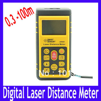 EMS Free shipping Pocket Digital Laser Distance Meter with Big LCD Display ,measure range from 0.3 to 100m ,5pcs/lot